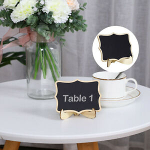Wood Mini Chalkboard Signs Tags with Base Stands for Weddings Message Board Sign