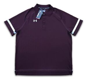 NWT Under Mens Armour Dominance On Field Polo 1238909 609 Maroon White SZ XL $64.88