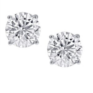 1 2ct Real Natural Round Diamond Solitaire Stud Earring set in 14K White Gold