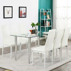 Hot 7 Piece Dining Table Set 6 Chairs Glass Metal Kitchen Room Furniture White $199.99