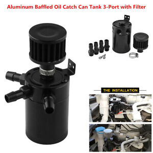 Universal 3-Port Baffled Oil Catch Can Tank Reservoir Oil Separator with Filter