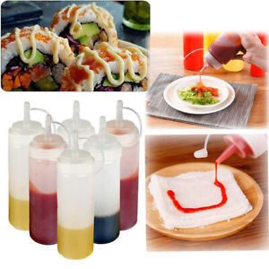 240ML Squeeze Condiment Bottles Cap Ketchup Mustard Dressings Olive Oil BBQ US