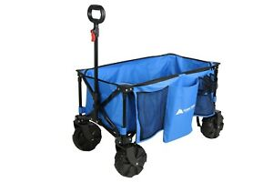 Ozark Trail All-Terrain Folding Wagon with Oversized Wheels, Blue - New 100%