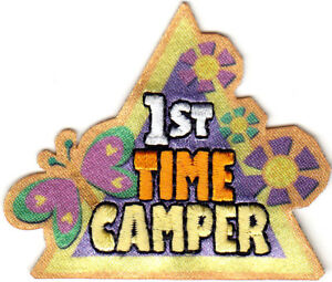 lST TIME CAMPER Iron On Patch Scouts Cub Girl Boy Camping Camp