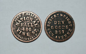 19. CIVIL WAR TOKENS: X 2 INDIAN HEADS, ROBT WRIGHT DRY GOODS, NATIONAL HALL OH.