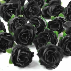 Simulated Silk Black Rose Bud Artificial Flower Halloween Party Decor 24pc LOT $8.99