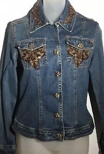 Women's Just B Jean Jacket With Stunning Sequins And Lace Apliques Size Small $18.00