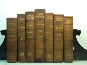 1898~Brown Leather 7 Book Collection~Old Antique Decorative Lot~POETRY OF NATURE