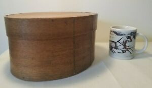 Rare OVAL Primitive Antique Pantry Box - Wooden Pegs - Woven - Early /Mid 1800s!