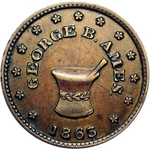 Belvidere Illinois Civil War Token George B Ames Druggist Mortar