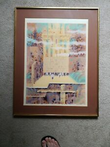 Jerusalem The Wall Limited Edition lithograph by Shmuel Katz signed COA isart $150.00
