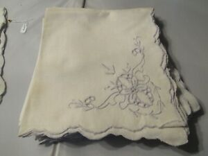 12 Vintage Embroidered Linen Napkins – Ivory with Light Lilac Embroidery