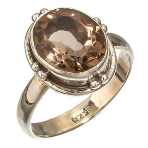 FACETED SMOKY TOPAZ GEMSTONE 925 STERLING SILVER HANDMADE JEWELRY RING 8.75 $18.05