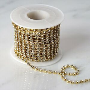 10 yards METALLIC GOLD 3mm Diamond Chain Roll of Ribbon Wedding Party DIY Crafts