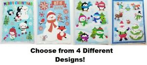 WINDOW CLINGS REUSABLE WASHABLE STICKERS HOLIDAY HOME SANTA CHRISTMAS SNOWMAN