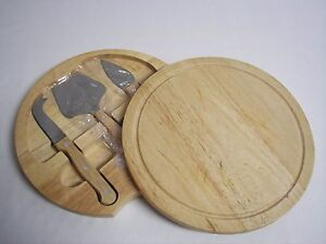 Cheese Wood Cutting Board with Hidden SS Wood Handled Tools Serving Tray