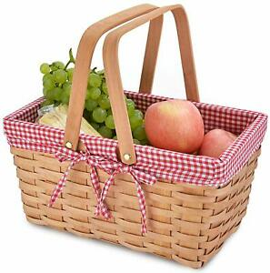 Picnic Basket Natural Woven Woodchip with Double Folding Handles | Easter Basket