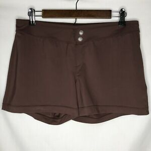 Athleta Womens Sz  Medium Shorts Workout Running Stretch Brown Embroidered Logo