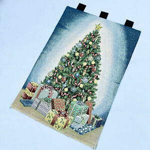 Gifts of The Season Christmas Tree Beautifully Decorated Tapestry Wall Hanging