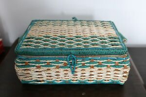 VINTAGE DRITZ SEWING BASKET BOX GREEN TEAL WOVEN WICKER MID CENTURY JAPAN FOOTED $35.99