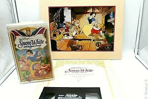 Snow White And The Seven Dwarfs VHS Tape + Commemorative Lithograph 1994