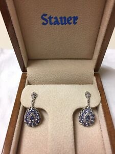 10K white gold pear shape Tanzanite and Diamond drop earrings by Stauer
