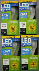 4 LED 12W (75W) 3000K Soft White 1100 Lumens Indoor Outdoor 14 Yr Light Bulb NEW