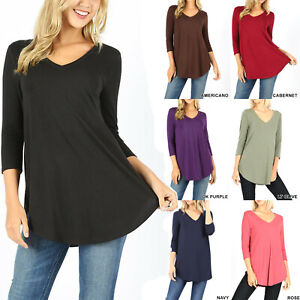 Womens 3 4 Sleeve T Shirt V Neck Casual Basic Tunic Top Long Loose Blouse $13.95