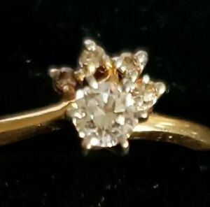 ELEGANT 14KT GOLD BLUE FIRE NATURAL DIAMOND ENGAGEMENT RING