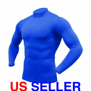 ARMEDES Mens Mock Long Sleeved T Shirt Cool Dry Compression Baselayer AR 53 $10.99