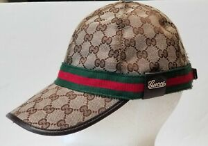 Gucci Baseball Cap Hat Adult Medium Italy Wraparound Band leather distressed