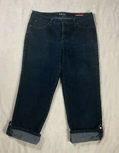 STYLE & CO. Womens Size 10 Blue DENIM Stretch Bling Pockets Cuffed Cropped JEANS