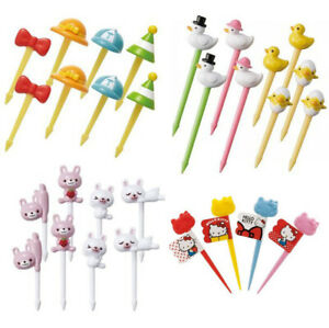 Hat and Bow Rabbit Duck Family 3D Hello Kitty Plastic Food Fruit Pick