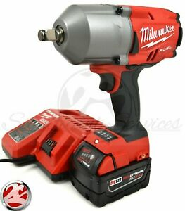 Milwaukee 2767 20 M18 FUEL 1 2quot; 1400 FT LBS 5.0 Ah High Torque Wrench Impact Kit $343.99