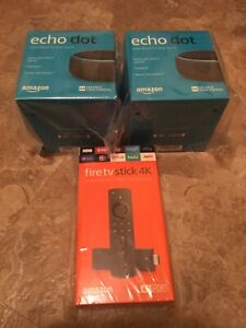 AMAZON 4K Fire TV Stick Streaming Media Player & 2 Echo Dots (3rd Gen) Charcoal