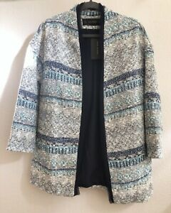 Zara Basic Tweed Style Coat S Navy White Turquoise