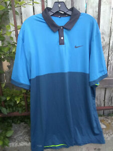 Nike Tiger Woods XL Light Blue & Blue Collection Dri-Fit Golf Shirt Polo