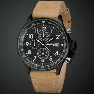INFANTRY MEN'S CHRONOGRAPH WRIST WATCH MILITARY BLACK DIAL LANCER BROWN LEATHER