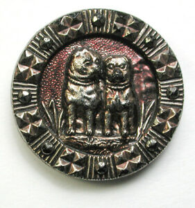 Med Sz Antique Black Glass Button 2 Pug Dogs w Re Silver Luster  1516