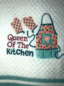 Embroidered  Striped Kitchen Hand Towel Queen of the Kitchen BS1708