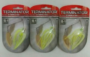 (3) Termintor 14 oz Spinner Bait Fishing Lures Lot of 3 S1 Spinnerbaits