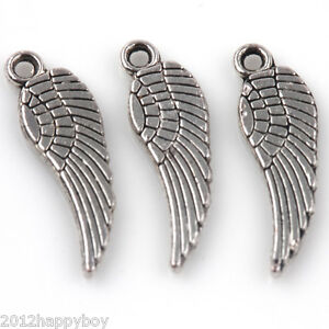 50PCS Tibetan Silver Angle#x27;s Wing Charms Pendants Jewelry Connectors 17x5mm $2.60