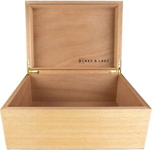 Large Wooden Box with Hinged Lid Wood Storage Box with Lid White Oak Box $39.95