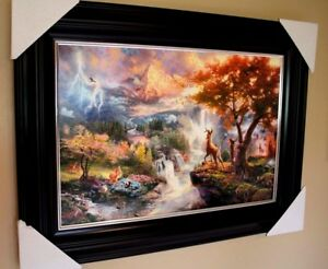 Thomas Kinkade Bambi's First Year  Disney SN 1495  Framed Canvas WCOA 24X36