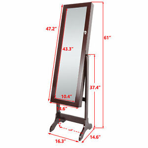 Free Standing Full Length Mirror Jewelry Cabinet Armoire Storage Organizer Brown