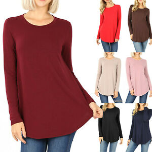 Women#x27;s Long Sleeve Tunic Top Casual Crew Neck Basic T Shirt Blouse Loose Fit