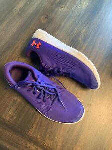 euc girls under armour shoes size 6 youth purple running gym shoes ua size 6
