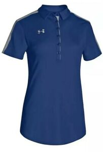 Under Armour Women's Large Colorblock Short Sleeve Polo Golf Shirt Blue Msrp $55