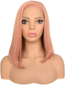 BLUPLE Short Bob Style Rose Peach Lace Front Wigs Orange Pink Natural Straight