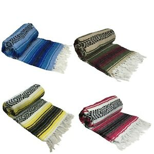 Mexican Blanket Falsa Woven Yoga Throw Sarape Seat Cover Throw Rug $22.99